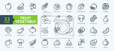 Plakat Fruits and vegetables - thin line web icon set. Outline icons collection. Simple vector illustration.