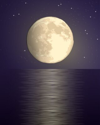 Plakat full big yellow moon against the background of the starry sky over the sea with a lunar path on the water. dark purple vector hand draw illustration landscape vertical square format