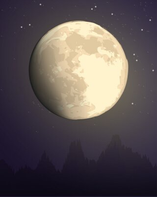 Plakat full moon against the background of the starry sky over the dark silhouette of the mountains. dark purple and yellow vector hand draw landscape nature illustration