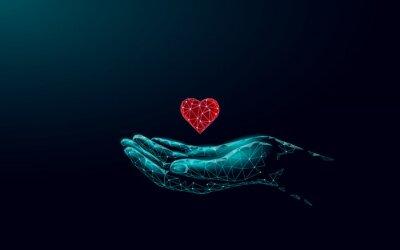 Plakat Fundraising giving heart symbol money hand. Charity volunteer giving donate social project. Finance funding dark low poly vector illustration