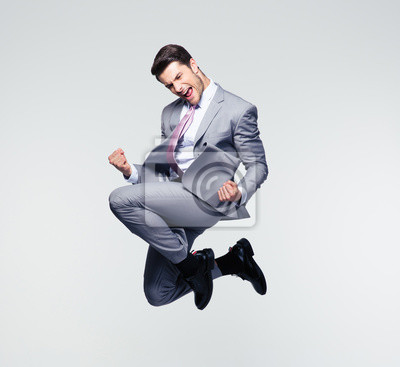 Plakat Funny businessman jumping in air