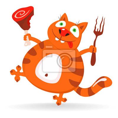 Funny cartoon cat - ilustracji wektorowych