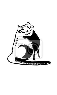 Funny cartoon cat, vector illustration