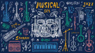 Plakat Funny cool sketch set, theme music party, doodle style lettering, musical notes, instruments slogan graphic art for t shirt design print posters. Hand drawn vector illustration.