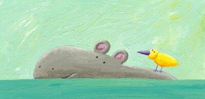 Plakat Funny hipopotam i ptaków