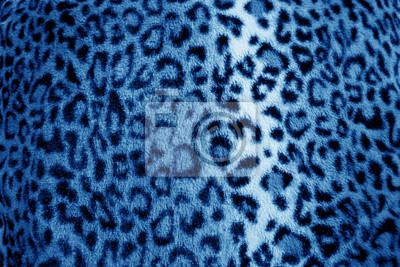 Plakat Futro lamparta druk niebieski retro zwierzęcy wzór - tkanina