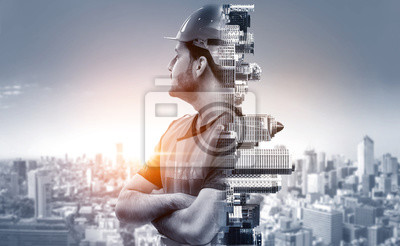 Plakat Future building construction engineering project concept with double exposure graphic design. Building engineer, architect people or construction worker working with modern civil equipment technology.