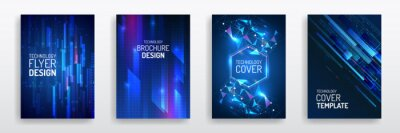 Plakat Futuristic business cover layout. Technology modern brochure templates. Set of Science and innovation hi-tech background. Flyer design of tech elements.