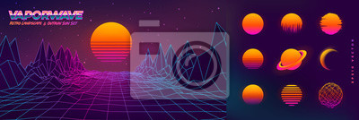 Plakat Futuristic neon retrowave background. Retro low poly grid landscape mountain terrain with set of glowing outrun sun vector illustration template