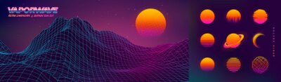 Plakat Futuristic neon retrowave background. Retro low poly grid wireframe landscape mountain terrain with set of glowing outrun sun vector illustration template
