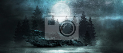 Plakat Futuristic night landscape with abstract forest landscape. Dark natural forest scene with reflection of moonlight in the water, neon blue light. Dark neon circle background, dark forest, deer.