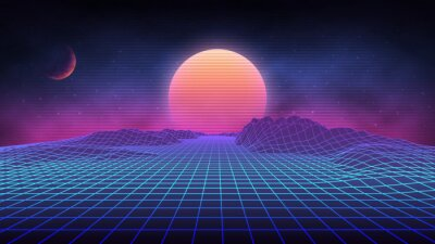Plakat Futuristic retro landscape of the 80`s. Vector futuristic illustration of sun with mountains in retro style. Digital Retro Cyber Surface. Suitable for design in the style of the 1980`s.