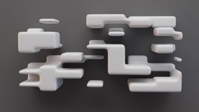 Futuristic shelf. Composition of white rectangles on gray wall. 3d Illustration