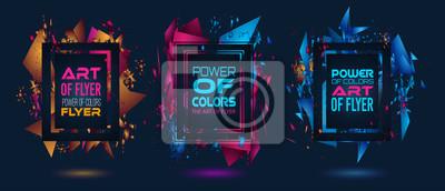 Plakat Futurystyczny projekt ramki z abstrakcyjnymi kształtami i kroplami kolorów
