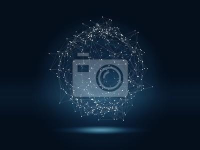Plakat Futurystyczny tle wysokich technologii z połączonymi świecącymi kropkami i liniami. Wirtualna 3D ilustracja sfery wielobocznej jako globalna koncepcja sieci.