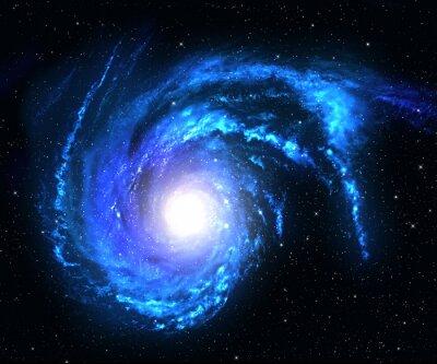 Plakat Galaktyka spiralna w przestrzeni kosmicznej z gwiazdą w tle pola.