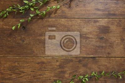 Plakat Gałąź drzewa na rustykalnym tle drewna