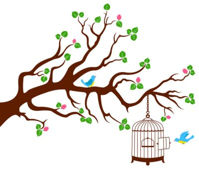 Plakat Gałąź drzewa z klatki ptaków i dwa ptaki