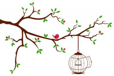 Plakat Gałąź drzewa z zaokrąglonym klatce ptaka