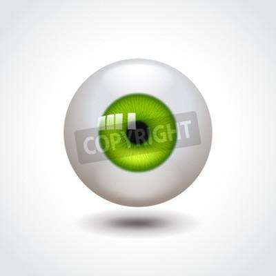 Gałka oczna z zielonego irysa fotografii realistyczną wektorową ilustracją