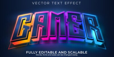 Plakat Gamer text effect, editable esport and neon text style