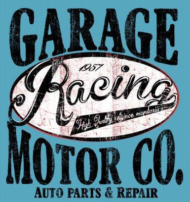 Plakat Garaż samochodowe Samochody ciężarowe typografii, T-shirt grafika, retro, ve