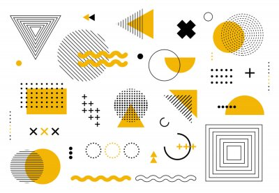 Plakat Geometric abstract elements memphis style. Set of funky bold constructivism graphics for posters, flyers. Vector yellow and black minimal shapes for modern cover design