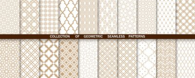 Plakat Geometric collection of gold and white patterns. Seamless vector backgrounds. Simple graphics
