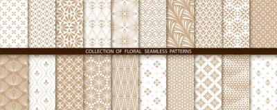 Plakat Geometric floral set of seamless patterns. Gold and white vector backgrounds. Simple illustrations
