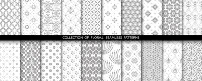 Plakat Geometric floral set of seamless patterns. Gray and white vector backgrounds. Simple illustrations.