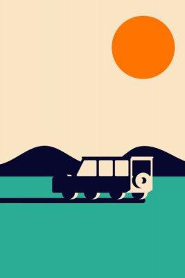 Plakat Geometric mountain landscape with car simple minimal vintage retro style
