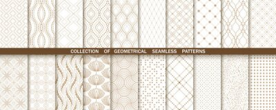 Plakat Geometric set of seamless gold and white patterns. Simple vector graphics