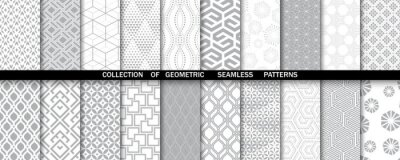 Plakat Geometric set of seamless gray and white patterns. Simple vector graphics.