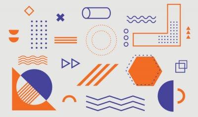 Plakat Geometric shapes. Set of memphis design elements for Poster, leaflet, Magazine, Banner, billboard sale. Universal trend 80, 90s style. Vector illustration