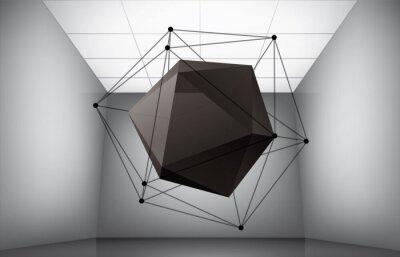 Geometryczna kompozycja z dwudziestościanu we wnętrzu muzeum