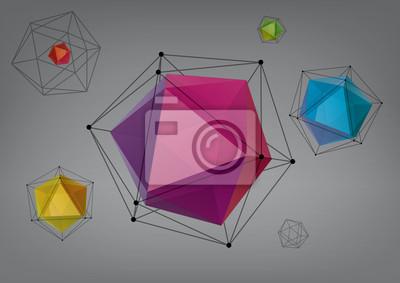 Plakat Geometryczna kompozycja z icosahedrons do projektowania graficznego