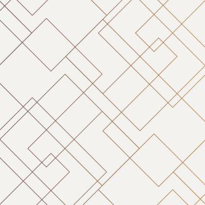 Plakat Geometryczny wektor wzór, powtarzając cienki liniowy kwadratowy kształt diamentu i prostokąt. Czysty design do malowania tapetą z tkaniny. Wzór jest na panelu próbek