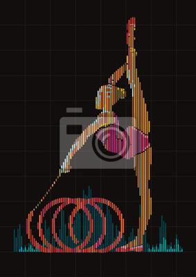 Gimnastyczka kobieta. Grafika w stylu cyfrowego korektora.