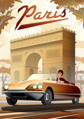 Plakat Girl driving a retro car in Paris and the Arc de Triomphe on the background.