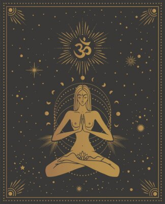 Plakat girl in lotus pose with the omm sign, with chakras among the stars, tarot cards, sacred, calm