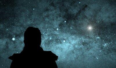 Plakat Girl watching the stars.