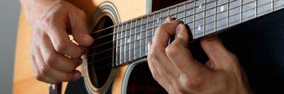 Plakat Gitara akustyczna odtwarzacz wykonywania piosenki