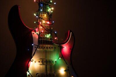 Plakat gitara elektryczna owinięte wianka