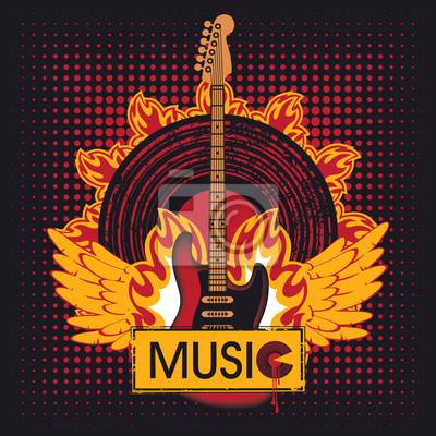 Plakat gitara elektryczna przeciwko płycie winylowej w ogniu