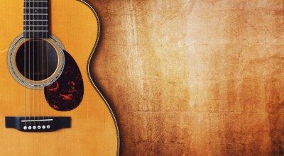 Plakat Gitara i puste tło grunge