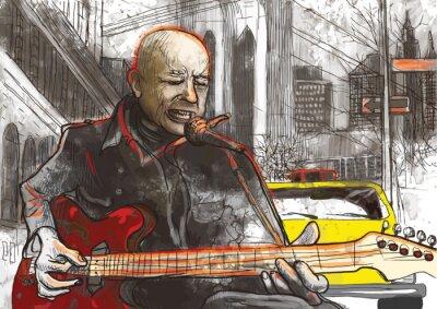 Plakat gitarzysta (rysunek odręczny konwertowane do wektora)