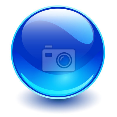 Plakat Glass sphere blue, vector shiny ball.