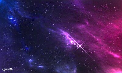 Plakat Głęboka przestrzeń. Ilustracji wektorowych kosmicznym mgławicy z gromady gwiazd.