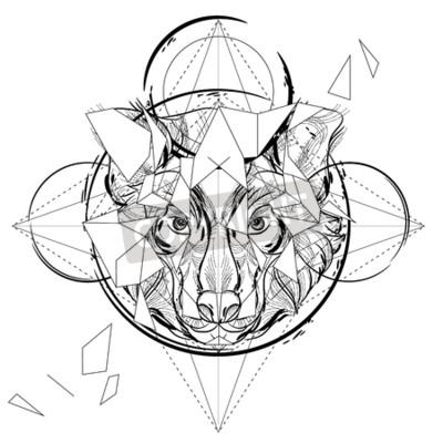 Plakat Głowica Animal trójkątna ikona, geometryczna linia modny design. Ilustracja gotowy do tatuażu lub kolorowanka wektorowych. Wilk głowę nisko-poli szkic rysowane ręcznie