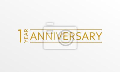 Plakat Godło z okazji rocznicy 1 roku. Ikona lub etykieta rocznicy. 1 rok uroczystości i element projektu gratulacje. Ilustracji wektorowych.